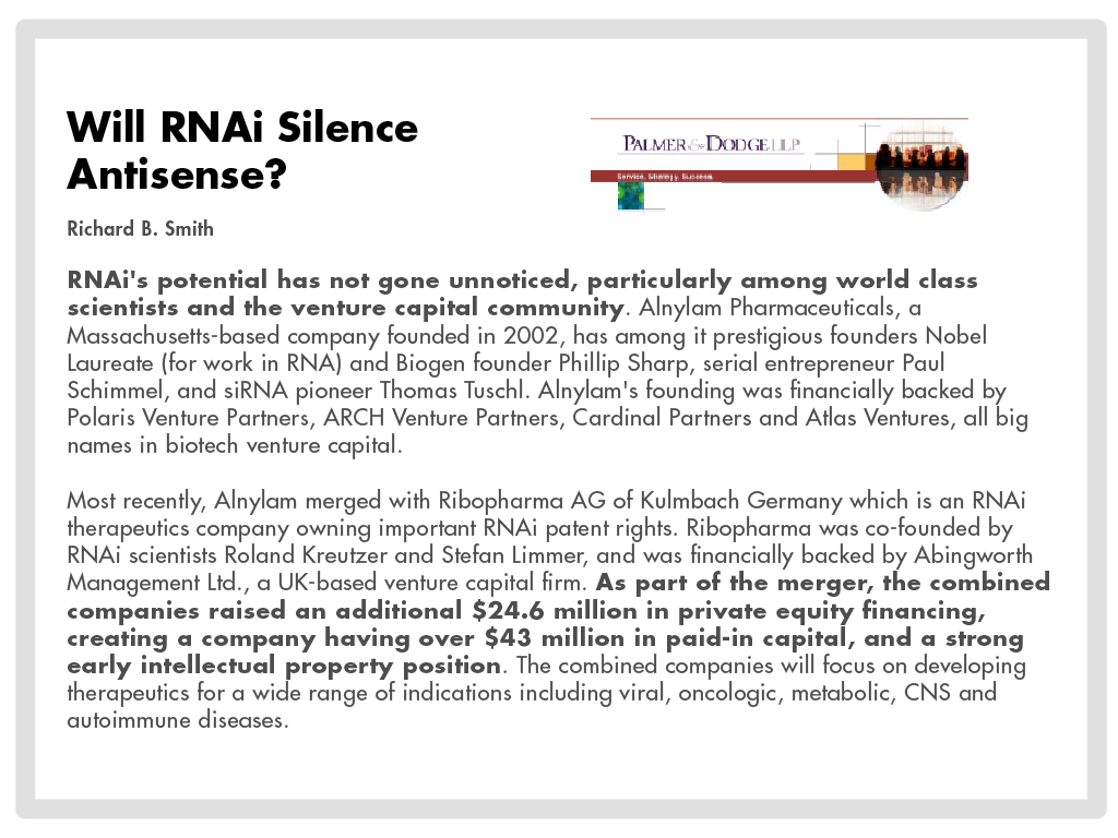 global antisense and rnai therapeutics global antisense and rnai therapeutics market 2015-2019 antisense and rnai therapeutics are new innovative therapeutic options that can be used for the treatment of serious chronic and rare diseases.